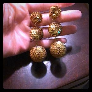 Jewelry - Gold Sequins Ball Drop Earrings